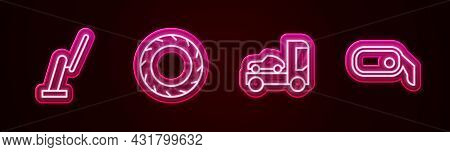 Set Line Windscreen Wiper, Car Tire Wheel, Transporter Truck And Rearview Mirror. Glowing Neon Icon.