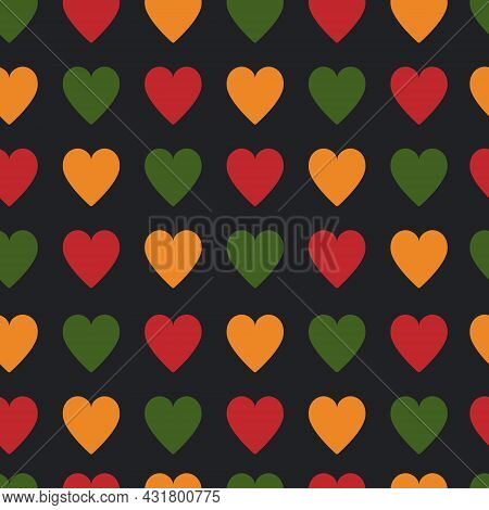 Seamless Pattern With Hearts In Traditional African Colors - Red, Green, Yellow, Black. Background F