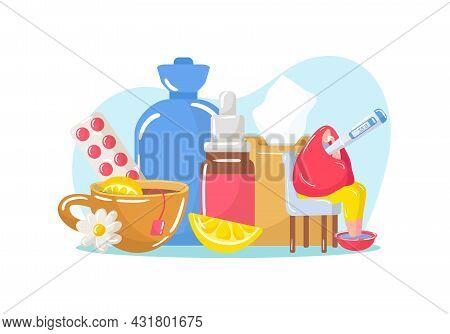Sick Person Use Medicine, Vector Illustration. Man Character With Illness, Flu Disease Sitting Near