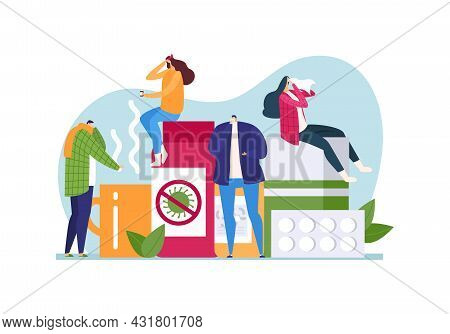 Sick Person With Disease, Vector Illustration. Treating Illness With Flat Medicine Concept, Man Woma