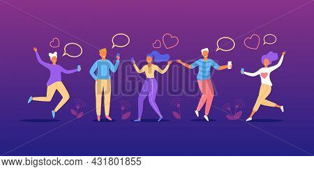 People Talk In Chat, Communicate By Message Bubble, Vector Illustration. Happy Man Woman Friends Cha