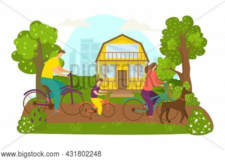 Family Ride Bicycle, Vector Illustration. Man Woman People Character At Bike, Sport Activity In Park