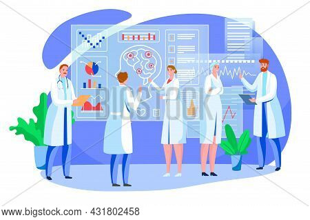 Brain Study, Vector Illustration. Man Woman Doctor Character Use Science For Studying Human Head Org