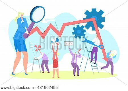 Business Analytics, Vector Illustration. Man Woman People Character Stand Near Financial Graph, Work