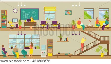 Business Workplace, Team Office, Vector Illustration. Man Woman People Character At Corporate Job, C