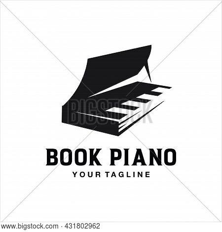 Piano Book Logo Illustration Vector Icon Template. Note Book Music Logo Icon Design. Music Book Logo