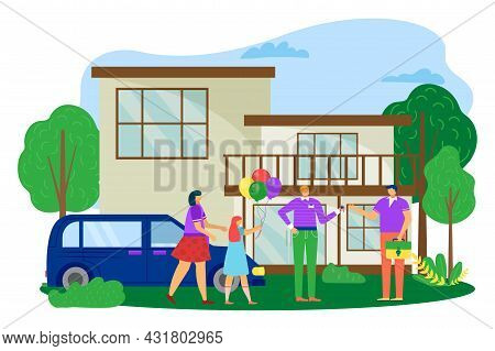 Family Buy House, Vector Illustration. Man Woman Character Near Home, Realtor Give Key From New Prop