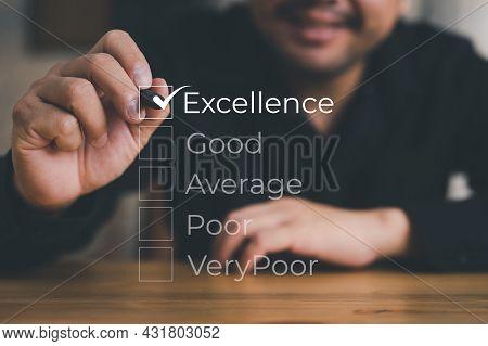 Customer Service Satisfaction Survey, Excellent Customer Service Evaluation, Businessman Hand Puttin