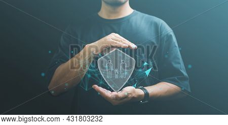 Businessman With Protective Gesture And Family, Life, Health And House Insurance Icons. Insurance Co