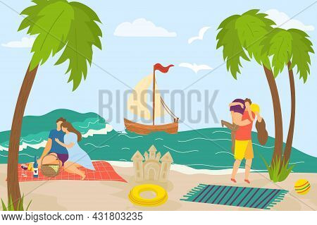 Love Couple At Summer Sea, Vector Illustration. Happy Man Woman People Character At Holiday, Vacatio