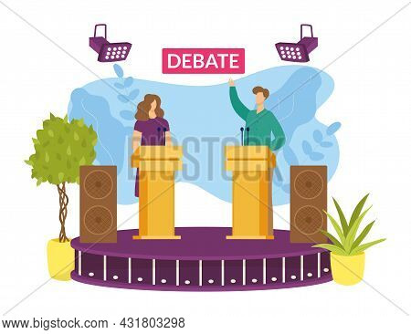 Candidate At Election Debate, Vector Illustration. Political Speaker Character In Discussion, Flat M