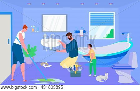 Household Work With Family, Vector Illustration. Woman Character Clean Up House Bathroom, Father And