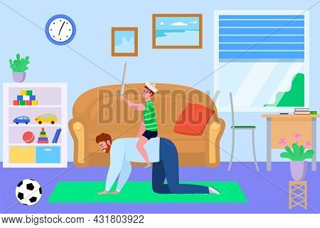 Father Son Spend Time Together, Vector Illustration. Family Man Child People Character Have Fun At H