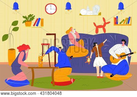 People Spend Time Together At Home, Vector Illustration. Cartoon Man Woman Friends Character Sitting