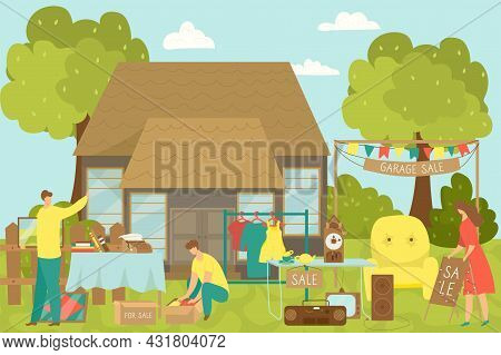 Garage Sale, Vector Illustration. Flat People Character Sell Goods Near Home, Second Hand Shop And F