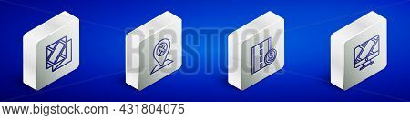 Set Isometric Line Folded Map, Location, Toll Road Traffic Sign And Monitor With Location Marker Ico