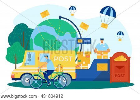 Mail Delivery, Post Service, Vector Illustration. People Courier Character Distribute Parcel, Flat L
