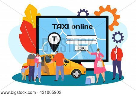 Online Taxi At Computer, Vector Illustration. Flat Man Woman Character Order Car At Internet Service