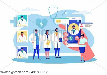 Patient Choose Doctor, Vector Illustration. Medical Help By Hospital Physician, Woman Character Sele
