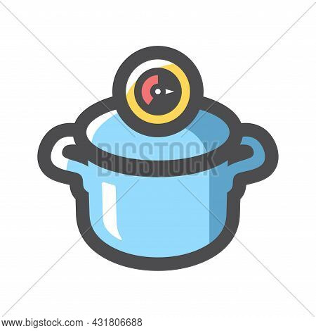Pressure Cooker For Cooking Vector Icon Cartoon Illustration.