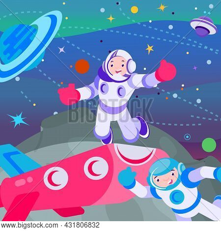 Osmonaut In Universe Space, Vector Illustration. Cartoon Astronaut Man Character Fly At Galaxy, Cosm