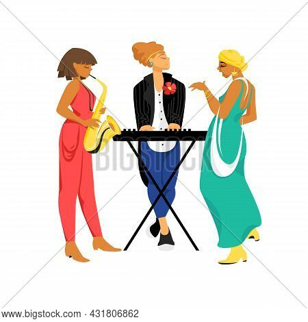 Jazz Band. Vector Image Of People Playing Jazz Music. Female Vocals. Musicians