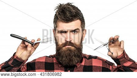 Bearded Man, Long Beard, Brutal, Caucasian Hipster With Moustache. Mens Haircut In Barber Shop. Barb