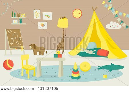 Room Interior For Kid, Indoor Home Furniture, Vector Illustration. House Playroom Design, Apartment
