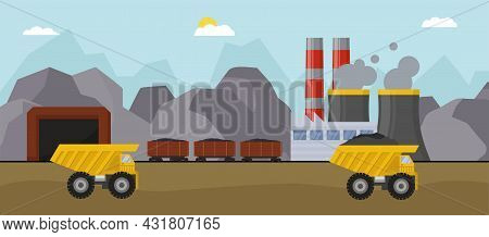 Coal Mine Concept With Industrial Truck, Vector Illustration. Heavy Transportation Equipment, Power