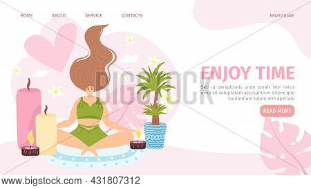 Enjoy Time For Flat Woman, Website Page, Vector Illustration. Female Character Relaxation With Aroma