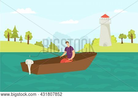 Fishing At Water, Vector Illustration. Fisherman Character Sit In Boat, Catch Fish From River Nature