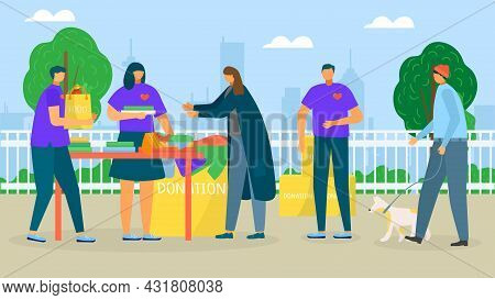Help Homeless People, Charity Donate, Vector Illustration. Man Woman Character Care About Poor Perso