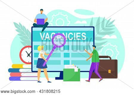 Job Vacancy At Screen, Vector Illustration. Man Woman Person Search Work Online, Business Worker Can