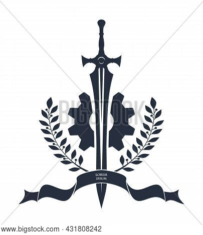 Great Two-handed Sword Bound With Ribbon. Sword, Ribbon And Laurel Wreath. Vector Monochrome Logo