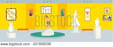 Local History Museum, Vector Illustration. Cartoon Exhibition Interior, Gallery Hall With Ancient Sc