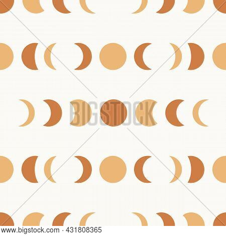 Seamless Pattern With Boho Rainbows In Terracotta Colors. Neutral Nursery Art Design For Decoration,