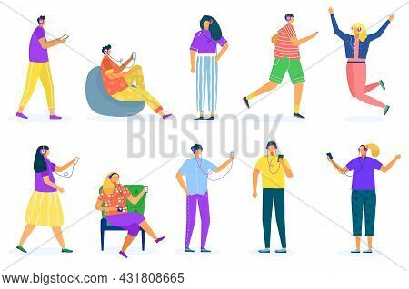 People In Headphones Set, Vector Illustration. Young Man Woman Character Listen Music, Isolated On W