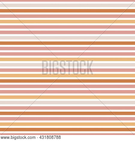Seamless Pattern With Boho Lines In Terracotta Colors. Neutral Nursery Art Design For Decoration, Bo