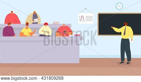 Education Lecture With Professor, Vector Illustration. College Teacher Character Talk With Student G