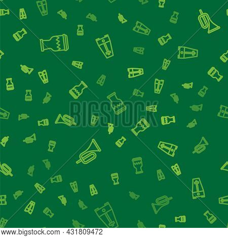 Set Line Drum, Trumpet And Metronome With Pendulum On Seamless Pattern. Vector