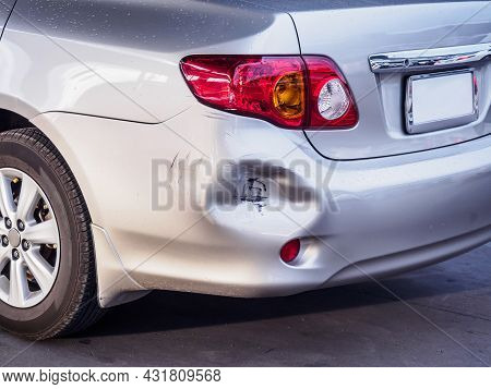 Car Has Dented Rear Bumper Damaged After Accident
