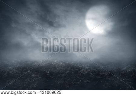Scary Horror At Night Background, Halloween Theme