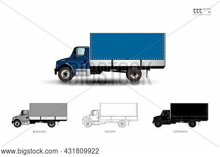Insulated Blue Truck With Awning. Vector Illustration