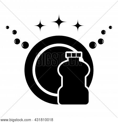 Concept Of Clean Dishes Scrubbing Icon Black Color Vector Illustration Flat Style Image