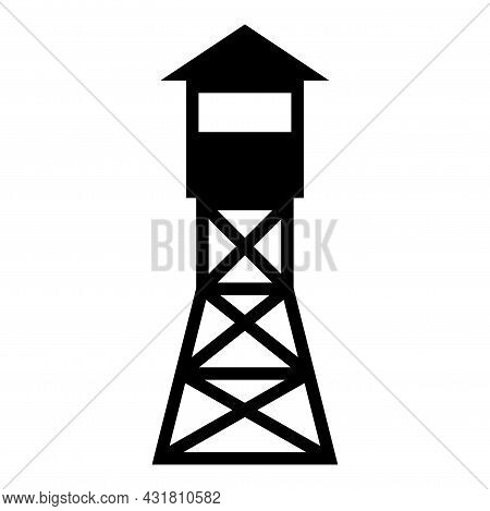 Watching Tower Overview Forest Ranger Fire Site Icon Black Color Vector Illustration Flat Style Imag