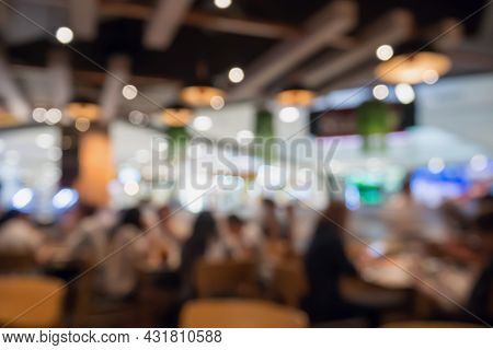 People In Restaurant Cafe Or Coffee Shop Interior With Bokeh Light Blurred Customer Abstract Busines
