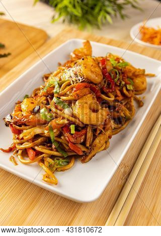 Delicious Asian Noodles With Shrimp And Vegetable, Dish In Asian Style