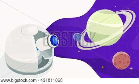 Observatory Is Watching Satellites On Orbit Around Planet In Space. Station For Observing Space, Sta