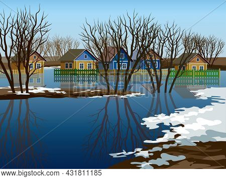 Flooded Village. Spring Rising River Levels In Village Vector Illustration. High Water In Russian Vi