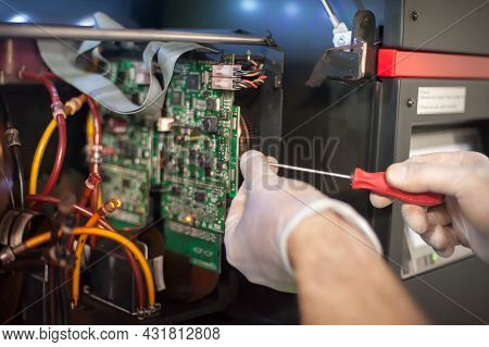 Close Up Of Electrician Engineer Works With Electric Cable Wires
